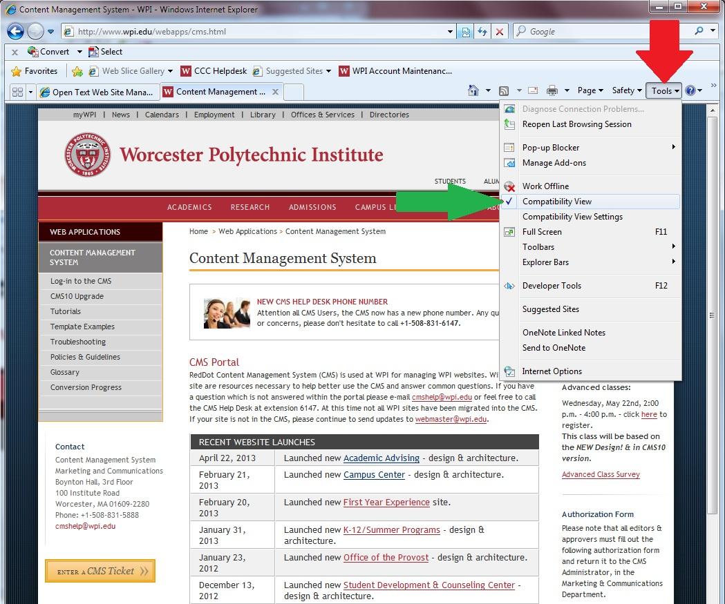 CMS Portal: Troubleshooting