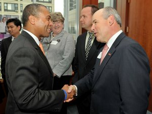 WPI President/CEO Dennis D. Berkey with Gov. Deval Patrick at Signing of Life Sciences Bill