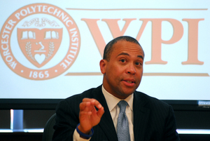 Gov. Deval Patrick speaks on April 17 at WPI's Life
