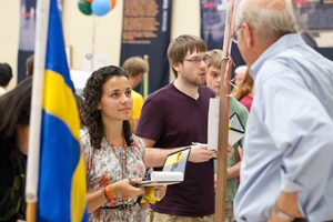 Students can gain information on project sites during the global fair.
