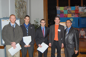 From left to right, WPI students Aaron Scott Hall-Stinson, Christopher Gowell, Travis Collins; Professor Randy Stoecker of the University of Wisconsin-Madison, and WPI Professor Stephen Bitar.