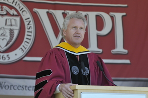 Jeffrey R. Immelt, chairman and CEO of General Electric Co., delivers the keynote address at WPI's 140th Commencement on May 17, 2008, after receiving his honorary degree.