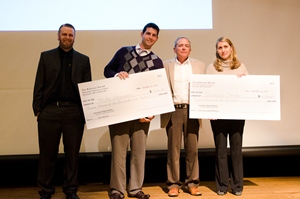 (Left to right) Kevin Harrington, Michael Abramson, presenter Paul Kalenian and Izabela Stroe.