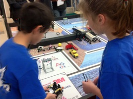 Students participating in the 2011 FLL Qualifier event at WPI.