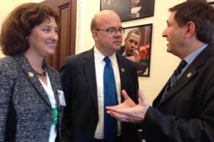 WPI President Laurie Leshin, U.S. Rep. James McGovern, and Presidential Innovation Fellow Geoff Mulligan at the technology event at the White House.