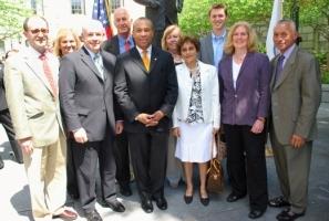 Front row, from left: Nikos Gatsonis, WPI President Dennis Berkey, Governor Patrick, Raji Patel (MIT NASA Space Grant Consortium), Martha Cyr, Administrator Bolden