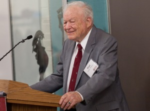 Paul Morgan in 2011 at the opening of a Gordan Library exhibit on the Morgan Construction Co. Collection.