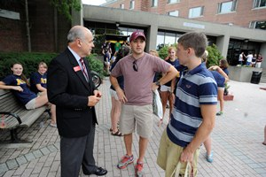 President Berkey talks with students and parents on Aug. 19, move-in day for the Class of 2016.