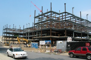 WPI's new residence hall, pictured as of August 15, 2007, is scheduled to open in fall 2008. A topping-off ceremony is scheduled for Friday, August 24, at the Boynton Street construction site.