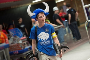 Robotics teams participating in BattleCry at WPI are known for sporting creative costumes.