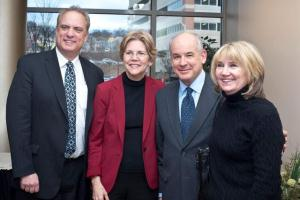 From left, Worcester Mayor Joseph Petty, Sen. Warren, WPI President Dennis Berkey, and Catherine Berkey