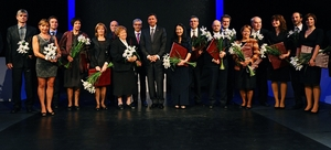 Slovenian President President Borut Pahor, center, with honorees at the national awards ceremony in Maribor; Prof. Dominko