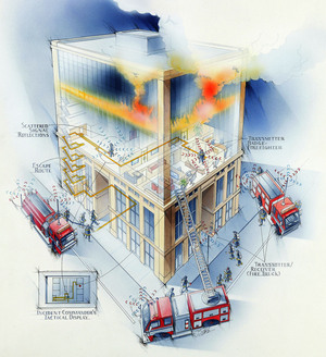 An illustration showing how WPI's Precision Personnel Location system can track firefighters in three dimensions inside buildings.