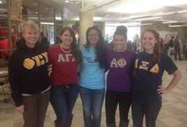Left to right: Sorority presidents Ariane Hopkinson, Marissa Capua, Diana Nguyen (Panhellenic Council president), Amanda Houyou, and Susan Stukas