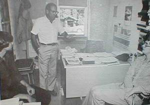 Wagner in his office with students in 1981. It was said that his office door was never closed.