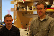 PhD students Chris Scully,  left, and John Favreau