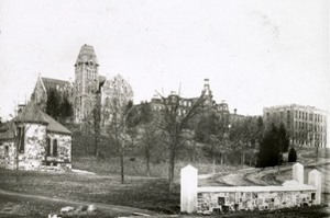 The campus in the 1880s. From left, atop the hill, Boynton Hall, Washburn Shops, and Salisbury Laboratories.