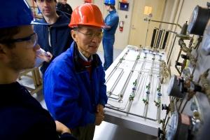 Yi Hua 'Ed' Ma in WPI's Unit Operations Laboratory
