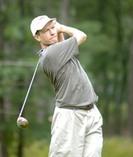 WPI professor John McNeill tees off at the Massachusetts Amateur Championship. Photo by David Colt.