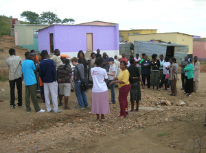 Students working in the settlement town of Otjomuise in Windhoek, Namibia