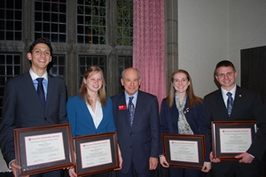 From left, Marco Villar, Emily Domingue, President Dennis Berkey, Emily Fournier, and Jonathan Cline.