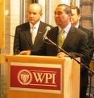 MA Governor-Elect Deval Patrick with WPI President Dennis Berkey.