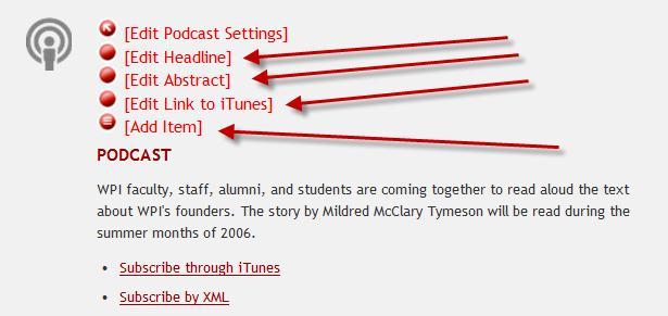 CMS Portal: Editing a Podcast Table - WPI