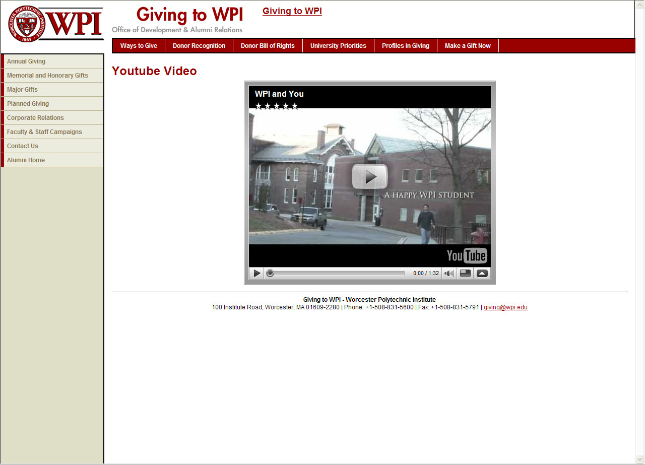 Cms portal youtube video wpi this is an example of the youtube video template you can enter url of the video to this template maxwellsz